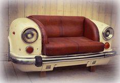 Upcycled Car Sofa Front, White