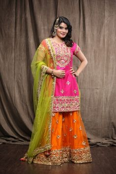 pink and orange lehenga , pink orange and green sharara , gota work outfit , pink and orange outfit Pakistani Fashion Casual, Asian Fashion, Boho Fashion, Fashion Dresses, Orange Lehenga, Pink Lehenga, Eid Outfits, Bridal Outfits, Pakistani Dresses