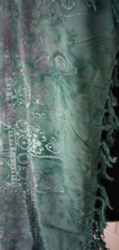 BATIK Sarong/ Wrap, Beach cover up/ Green and Lilac Exc.Quality