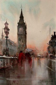 Dusan Djukaric Big Ben watercolor