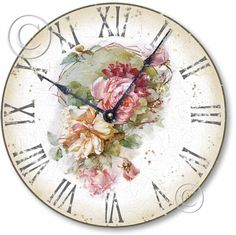 Vintage Style Shabby Roses Clock