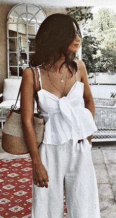 #fall #outfits women's white spaghetti-strap top