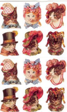 Vintage coloured scrap cats