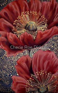 'Red Poppies II' Photographic Print by Cherie Roe Dirksen Art Floral, Art Pastel, Chalk Pastels, Leaf Art, Chalk Art, Red Poppies, Fabric Painting, Ink Art, Painting Inspiration