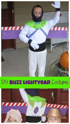 Send your trick or treat kiddo to Infinity and Beyond with this DIY Buzz Lightyear Costume for Halloween