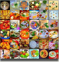 Mosaic of Passover (Pesach) Seder Plates.