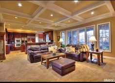 Open floor plan, and love the coffered ceilings.