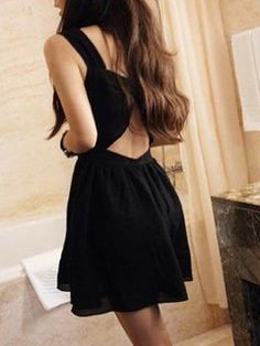 Black Dress With Cut Out Crossed Back on WearsPress