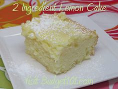 2 ingredient Lemon Cake or lemon bars Recipe - 2 different recipes with just 2 ingredients, it's all in the method! Click on photo for more