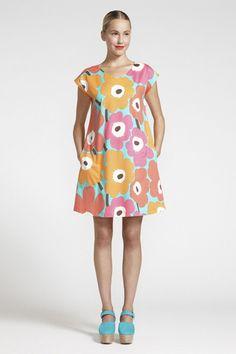 Marimekko Uuva Unikko Dress Mint/Orange/Fuschia | Kiitos Marimekko