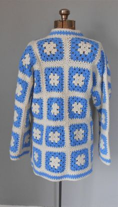 Crocheted Granny Square Jacket by MDMvintage on Etsy