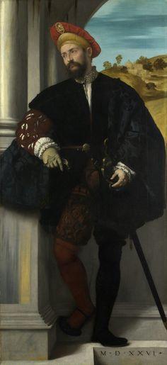 Moretto da Brescia - Portrait of a Man 15th century, 16th century. Doublet, Cape, Capelet, Romeo, revels, faire, Elizabethan, Tudor, Renaissance