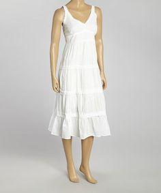 Loving this White V-Neck Maxi Dress - Women on #zulily! #zulilyfinds