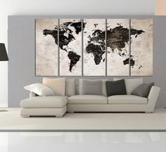 Canvas prints add a unique touch to your home. Modern, stylish and unique design will be the most special piece of your decor. Especially for those who like abstract works, black and white acrylic painting can be prepared in desired sizes  Extra large Wall art print on canvas, push pin world map wall art canvas, world map push pin for travel canvas print, No:5S97  i designed the watercolor map on photoshop. you will receive high resulation canvas print   ◆ GALLERY WRAPPED CANVASES We print…