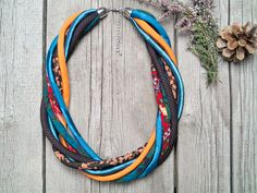 COLORFUL necklace statement textile necklace fabric by Zojanka