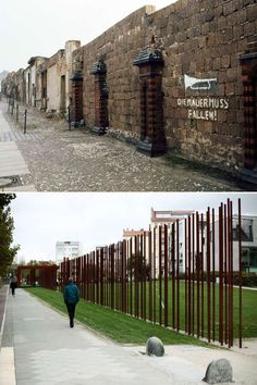 The combo shows the Berlin Wall along Bernauer Strasse in the north of Berlin with a writing 'The wa... - Markus Schreiber/AP Photo