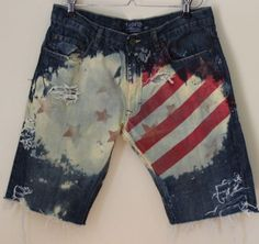 Mens USA American Flag Shred Bleached Reworked Jean Shorts | eBay