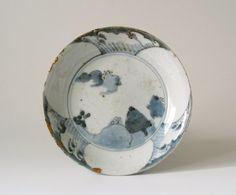 Shoki Imari blue porcelain dish / early Edo period circa 1610-1650