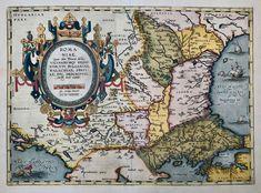 Maps, Romania, Ortelius – Philographikon Antique Maps and Prints House Map, Orbis, Types Of Printing, Antique Maps, Hand Coloring, Romania, Renaissance, Vintage World Maps, Antiques