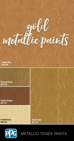 Want your room to shimmer and shine? Try one of our gold colors in our Metallic Tones specialty paint. With a sleek, luminous finish, it'll make your home feel like luxury. Gold Painted Walls, Metallic Paint Colors, Gold Walls, Gold Paint For Walls, Metallic Gold Wall Paint, Foyer Paint Colors, Bedroom Paint Colors, Paint Colors For Home, Gold Ceiling