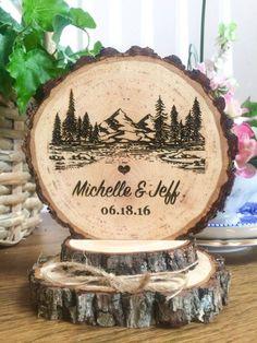 Rustic Mountain Wedding Cake Topper, Tree Cake Topper, Wood Cake Topper…