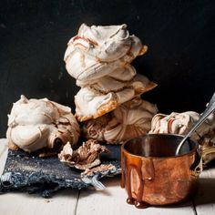 Warm and luscious salted caramel, crisp chocolate meringue and softly whipped cream.
