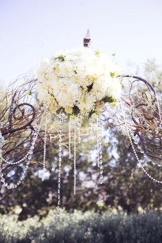 wedding arbor decor with sparkly dangling pieces