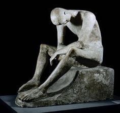 """Wilhelm Lehmbruck, """"Seated Youth,"""" 1917. Composite tinted plaster."""