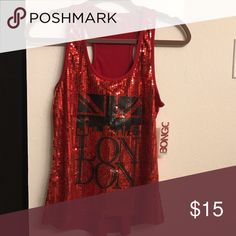 Red sequined London Bongo tank top Red sequined London Bongo tank top BONGO Tops Tank Tops