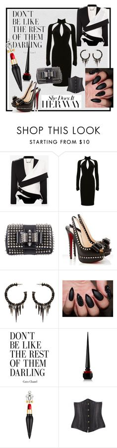 """""""Sexy Spikes"""" by cherry-cyanide ❤ liked on Polyvore featuring Alexander McQueen, Versace, Christian Louboutin and Michael Schmidt"""