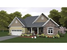 Shingle, siding and stone come together to make this plan inviting and warm. A great split bedroom layout separated by a large open concept living space is perfect for empty nesters and young families. A screened porch provides a protected outdoors space.
