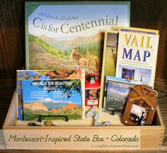 Montessori-Inspired State Box - Colorado - idea for a box or basket that can be used for the study of any country or state (post has links to all the Booking Across the USA state book and activity posts)
