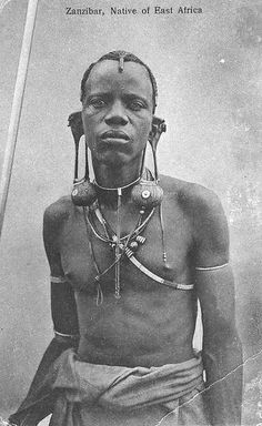 Africa   Zanzibar, native of East Africa.    Scanned vintage postcard; posted 1930