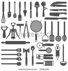 Kitchen utensils vector silhouette icons set - stock vector