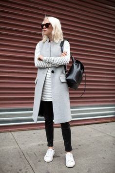 Intermix :: vest Here Anine Bing :: top Here J Brand :: leather pants Similar here Sandro ::...