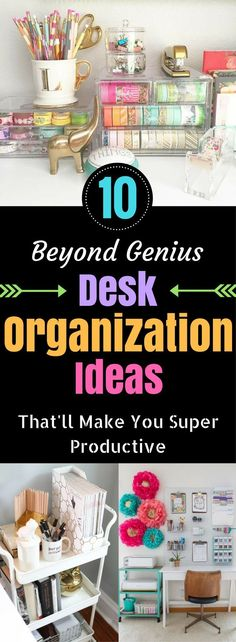 Home office organization ideas - tips for cleaning off a messy desk. Increase your productivity by decluttering and organizing your work space.