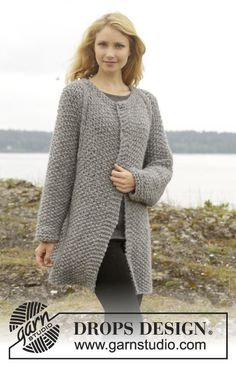"Day After Day Cardigan - Knitted DROPS jacket with moss st and raglan, worked top down in ""Cloud"" or ""Eskimo"". Size: S - XXXL. - Free pattern by DROPS Design"