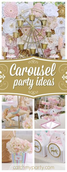 Take a look at this wonderful vintage Carousel birthday party!!! The paper flower backdrop is gorgeous!! See more party ideas and share yours at CatchMyParty.com