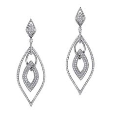 18k White Gold Pave Prong Interlocked Diamond Earrings - NK18847W  bovadiamonds.com  214.744.7668  contact: Erica