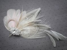 Bridal Peacock Accessories, Feather Fascinator Head Piece, Wedding Hair Feather Hair clip, Ivory, Pink, Peacock - PRINCESS ME PINK. via Etsy.