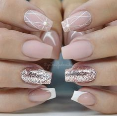 "If you're unfamiliar with nail trends and you hear the words ""coffin nails,"" what comes to mind? It's not nails with coffins drawn on them. Although, that would be a cute look for Halloween. It's long nails with a square tip, and the look has. Matte Nails, Pink Nails, My Nails, Acrylic Nails, Gold Nails, Winter Nail Designs, Nail Art Designs, Nails Design, Elegant Nail Designs"