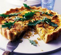 Goat's cheese, potato & onion tart via BBC Good Food