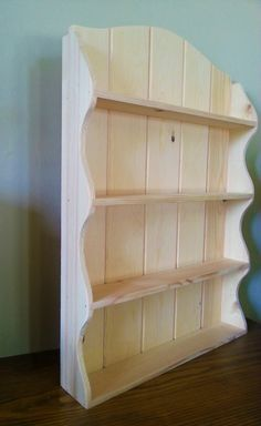 Items similar to Solid Pine Spice and Herb Rack Kitchen Display Cabinet French Country Cottage Shabby Chic Style 4 Shelves - Tall on Etsy Primitive Shelves, Wood Shelves, Funky Furniture, Wood Furniture, Kitchen Display Cabinet, Herb Rack, Barn Wood Projects, Wood Wine Racks, Rustic Cabinets