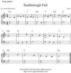 Free easy piano sheet music arrangement by Peter Edvinsson of the melody Scarborough Fair. Printable free sheet music solo for easy piano. Easy Piano Sheet Music, Flute Sheet Music, Piano Music, Folk Music Songs, Music Sheets, Indie Music, Piano Lessons, Music Lessons, Free Printable Sheet Music