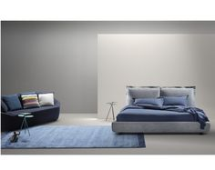 Double bed with upholstered headboard FACE By MY home collection design Massimiliano Di Domenico