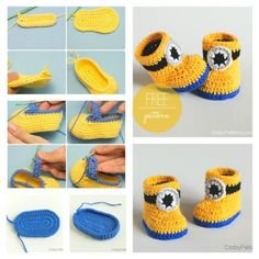 Minion Crochet Booties with Free Pattern 1