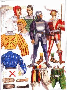 4° guerre d'Italie, le siège de Dijon: Les piquiers Suisses: tout de jaune et rouge vêtus.-  Peu confiant dans la fidélité des habitants à la dynastie des Valois, Louis de la Trémoille confie la garde des fortifications à un contingent de mercenaires. Il fait aussi raser et incendier les faubourgs, afin que l'ennemi ne puisse s'y faufiler en cachette et rapprocher ses canons des fortifications.