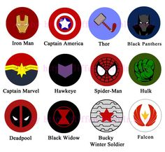 Marvel symbols (buttons on etsy https://www.etsy.com/uk/listing/209265160/avengers-buttons-iron-man-captain )