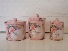 Shabby Chic Dollhouse Miniatures | Pink Shabby Chic Canisters Dollhouse Miniature