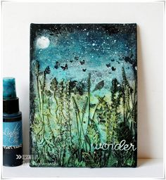My Craft World: 'Wonder'- Mixed media canvas for 2Crafty chipboard.